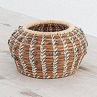 Natural fibers basket, 'Pine Mystique' - Artisan Crafted Central American Ecofriendly Fiber Basket