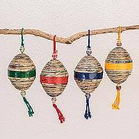 Recycled paper ornaments, 'Festive Cheers' (set of 4)