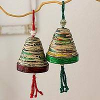 Recycled paper ornaments, 'Bells of Hope and Joy' (set of 4)