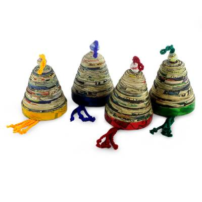 Recycled paper ornaments, 'Bells of Hope and Joy' (set of 4) - Recycled Paper Christmas Ornaments (Set of 4)