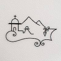 Wrought iron wall sculpture, 'Colonial Town' - Fair Trade Christianity Iron Wall Art from Central America