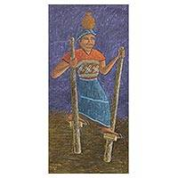 'Stilt Walker' (2006) - Fine Art Naif Painting from Guatemala