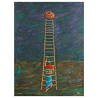 'Ladder' (2007) - Upward Climb Expressionist Painting