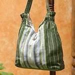 Cotton Striped Shoulder Bag from Central America, 'Maya Forest'