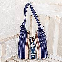Cotton shoulder bag, 'Maya Lake' - Guatemalan Hand Woven Blue Cotton Shoulder Bag