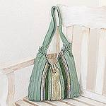 Striped Cotton Shoulder Bag Handmade in Guatemala, 'Aqua Lagoon'
