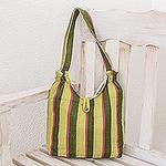 Green Cotton Striped Hobo Handbag, 'Summer Meadow'
