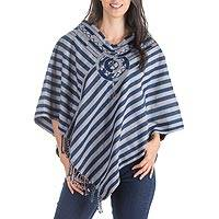 Cotton poncho, 'Maya Moon' - Unique Hand Woven Blue Cotton Poncho