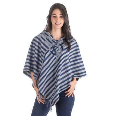 Cotton poncho, 'Maya Moon' - Unique Hand Woven Blue Cotton Poncho
