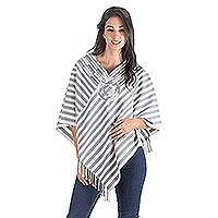 Cotton poncho, 'Maya Purity' - Handmade Women's Cotton Poncho from Central America