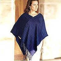 Cotton poncho, 'Marine Serenade' - Hand Woven Cotton Blue Poncho