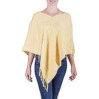 Cotton poncho, 'Morning Serenade' - Central American Hand Woven Cotton Poncho