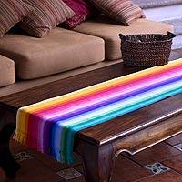 Cotton table runner, 'Rainbow Fantasy' - Handcrafted Cotton Striped Table Runner