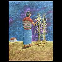 'Harvesting Corn' - Central American Expressionist Portrait Painting