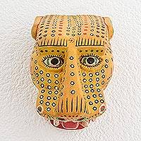 Wood mask, 'Maya Jaguar' - Unique Wood Wall Art Mask