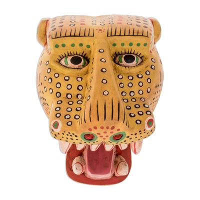 Wood mask, 'Maya Jaguar' - Unique Wood Wall Art Mask