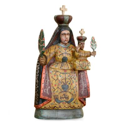 Wood sculpture, 'Our Lady of Candelaria' - Handcrafted Religious Wood Sculpture