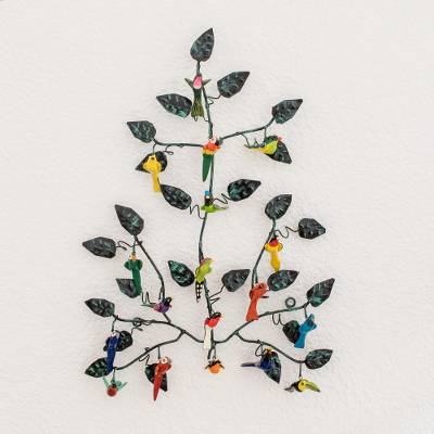 Ceramic and iron wall sculpture, 'Forest Melodies' - Ceramic and Iron Bird Wall Art from Central America