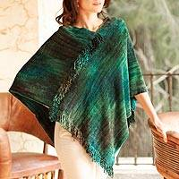 Cotton blend poncho, 'Emerald Valley' - Cotton Blend Chenille Poncho