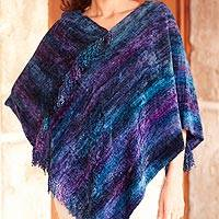 Cotton blend poncho, 'Full Moon Night' - Guatemalan Fair Trade Hand Woven Poncho