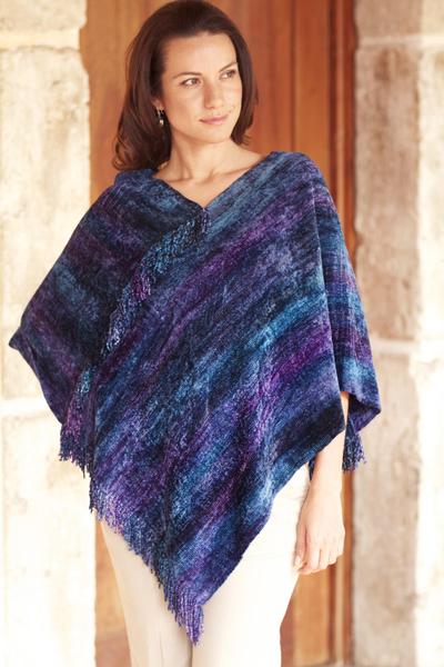 Cotton blend poncho, 'Full Moon Night' - Hand Woven Cotton Blend Guatemalan Poncho