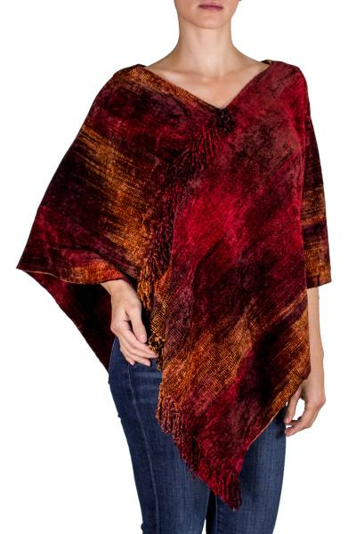 Cotton blend poncho, 'Ruby Tradition' - Hand Loomed Cotton Blend Poncho
