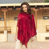 Rayon chenille shawl, 'Ruby Roses' - Finely Hand Loomed Women's Rayon Chenille Wrap