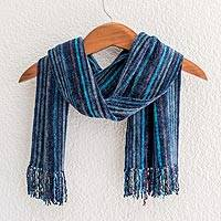 Rayon chenille scarf, 'Sapphire Traditions' - Rayon from Bamboo Chenille Scarf
