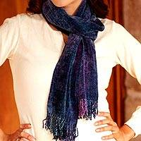 Rayon chenille scarf, 'Winds of Love'