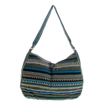 Cotton hobo bag, 'Jade Synchronicity' - Green Striped Cotton Shoulder Bag