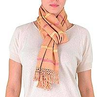 Cotton scarf, 'Wild Tulip' - Cotton scarf