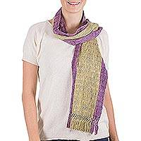 Cotton scarf, 'Guatemala Sunset' - Hand Loomed Cotton Scarf Wrap
