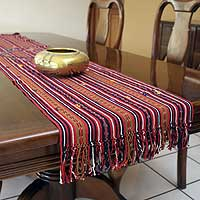 Cotton table runner, 'Women of Solola' - Cotton table runner
