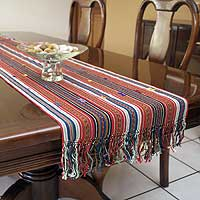 Cotton table runner, 'Ancestral Path' - Cotton table runner