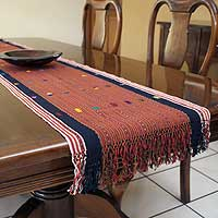 Cotton table runner, 'Guatemala Highlands' - Guatemalan Cotton Table Runner Weaving