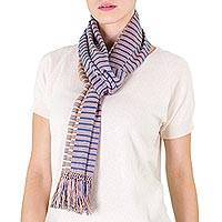 Cotton scarf, 'Atitlan Sunset' - Cotton scarf