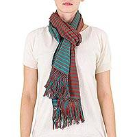 Cotton scarf, 'Country Home' - Cotton scarf