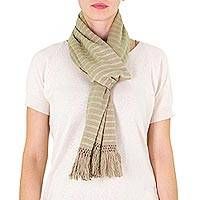 Cotton scarf, 'Wheat Fields' - Cotton scarf