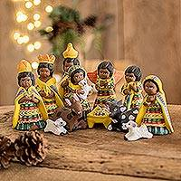 Ceramic nativity scene, 'Christmas in San Juan' (set of 12) - Ceramic nativity scene (Set of 12)