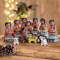 Ceramic nativity scene, 'San Juan Comalapa' (set of 12) - Christianity Ceramic Nativity Scene Sculpture (Set of 12)