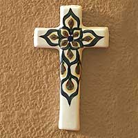 Ceramic wall art, 'Floral Cross' - Fair Trade Floral Ceramic Cross Wall Art