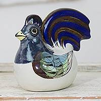 Ceramic figurine, 'Blue Rooster' - Ceramic Bird Sculpture from Central America