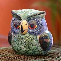 Ceramic figurine, 'Jade Owl' - Ceramic Owl Sculpture from Guatemala