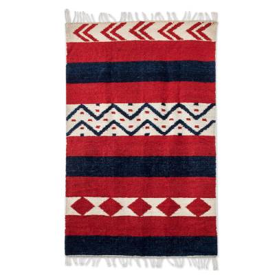 Wool rug, 'Guatemala Diamonds' - Hand Made Wool Area Rug from Central America