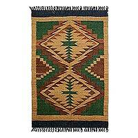Wool area rug, 'Earth's Gift' - Wool Area Rug Crafted in Guatemala