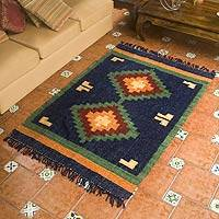 Wool rug, 'Blue Diamond Sky' - Artisan Woven Geometric Wool Rug