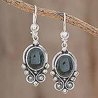 Jade dangle earrings, 'Praise Love' - Hand Crafted Sterling Silver Good Luck Jade Dangle Earrings