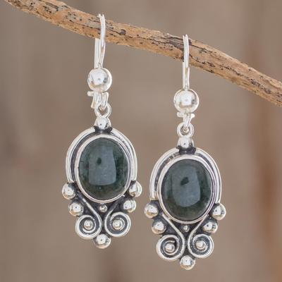 Jade dangle earrings, 'Praise Love' - Hand Crafted Sterling Silver Good Luck Jade Dangle Earrings
