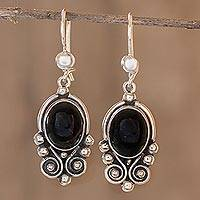 Black spinel dangle earrings, 'Praise Love' - Fair Trade Sterling Silver Spinel Dangle Earrings