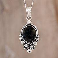 Black spinel pendant necklace, 'Praise Love' - Unique Sterling Silver Pendant Necklace